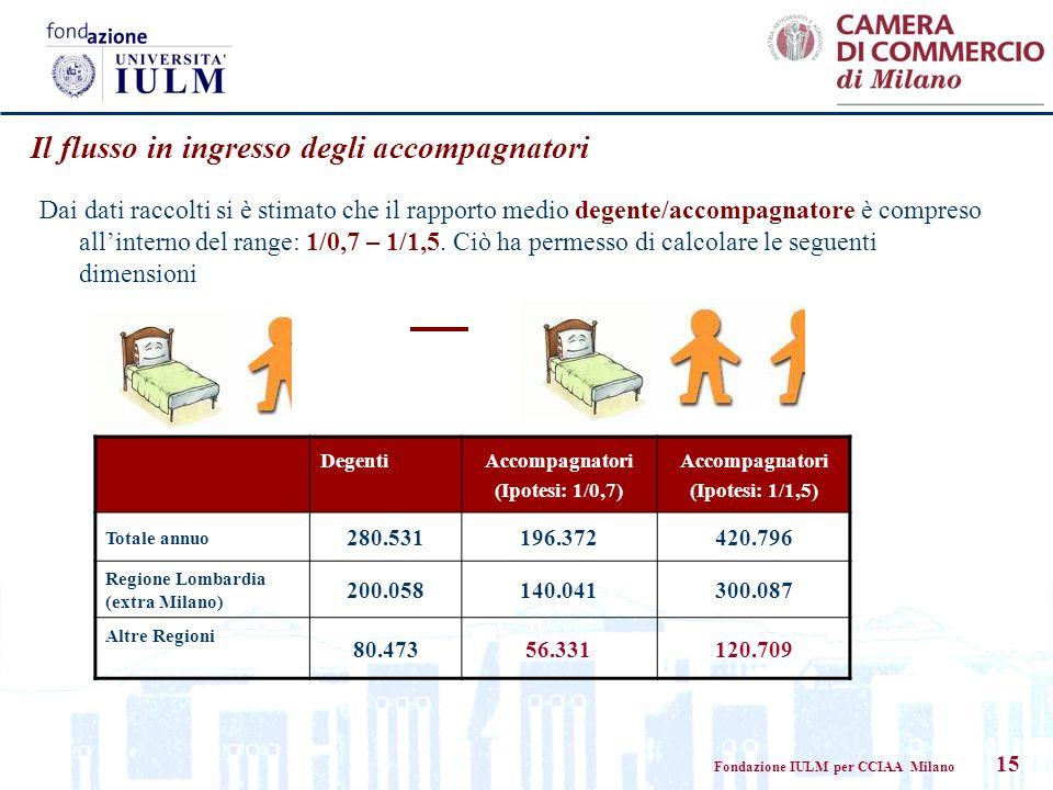 Fondazione IULM per CCIAA Milano 15 Dai dati raccolti si è stimato che il rapporto medio degente/accompagnatore è compreso allinterno del range: 1/0,7 – 1/1,5.