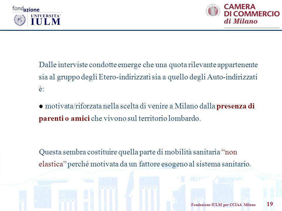 Fondazione IULM per CCIAA Milano 19 Dalle interviste condotte emerge che una quota rilevante appartenente sia al gruppo degli Etero-indirizzati sia a