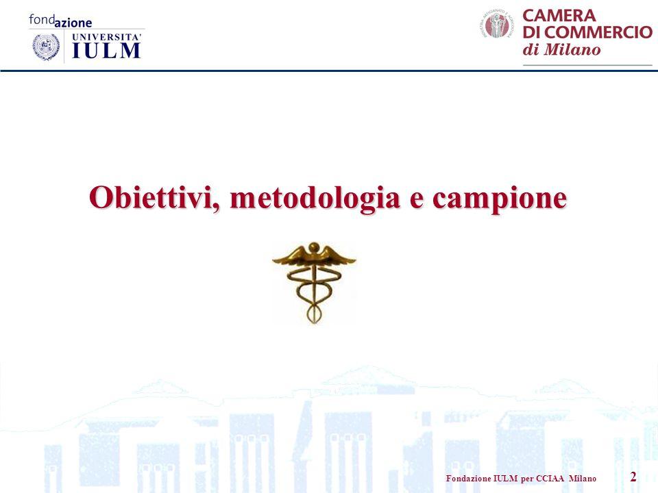 Fondazione IULM per CCIAA Milano 2 Obiettivi, metodologia e campione