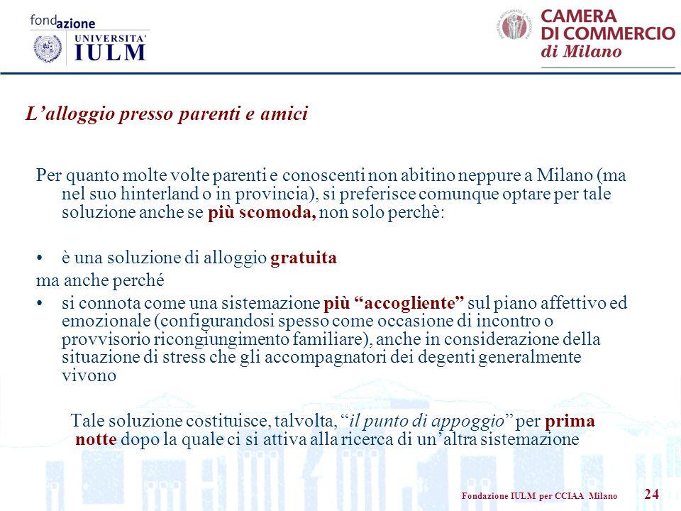 Fondazione IULM per CCIAA Milano 24 Per quanto molte volte parenti e conoscenti non abitino neppure a Milano (ma nel suo hinterland o in provincia), s