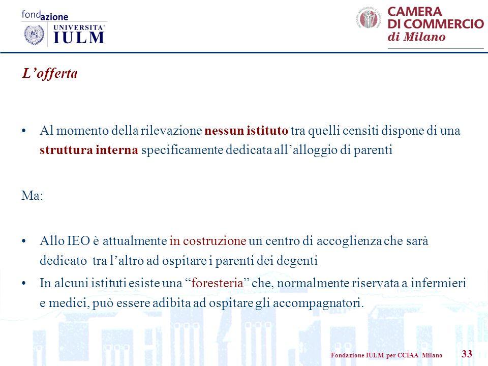 Fondazione IULM per CCIAA Milano 33 Lofferta Al momento della rilevazione nessun istituto tra quelli censiti dispone di una struttura interna specific