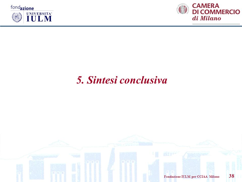 Fondazione IULM per CCIAA Milano 38 5. Sintesi conclusiva