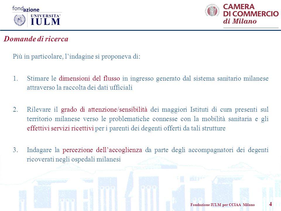Fondazione IULM per CCIAA Milano 4 Domande di ricerca Più in particolare, lindagine si proponeva di: 1.Stimare le dimensioni del flusso in ingresso ge