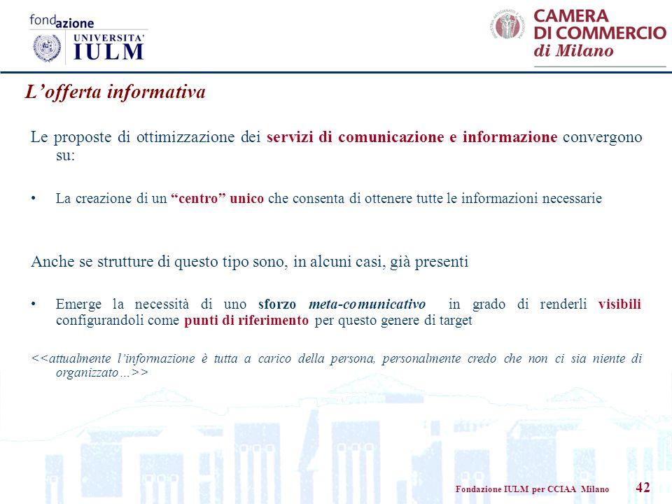 Fondazione IULM per CCIAA Milano 42 Lofferta informativa Le proposte di ottimizzazione dei servizi di comunicazione e informazione convergono su: La c