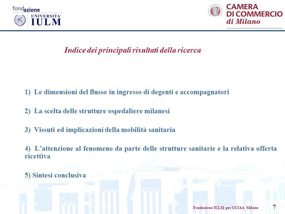 Fondazione IULM per CCIAA Milano 7 Indice dei principali risultati della ricerca 1) Le dimensioni del flusso in ingresso di degenti e accompagnatori 2
