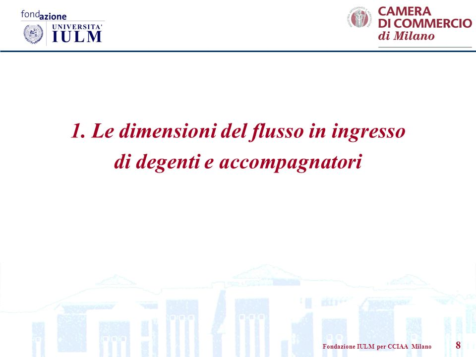 Fondazione IULM per CCIAA Milano 8 1. Le dimensioni del flusso in ingresso di degenti e accompagnatori