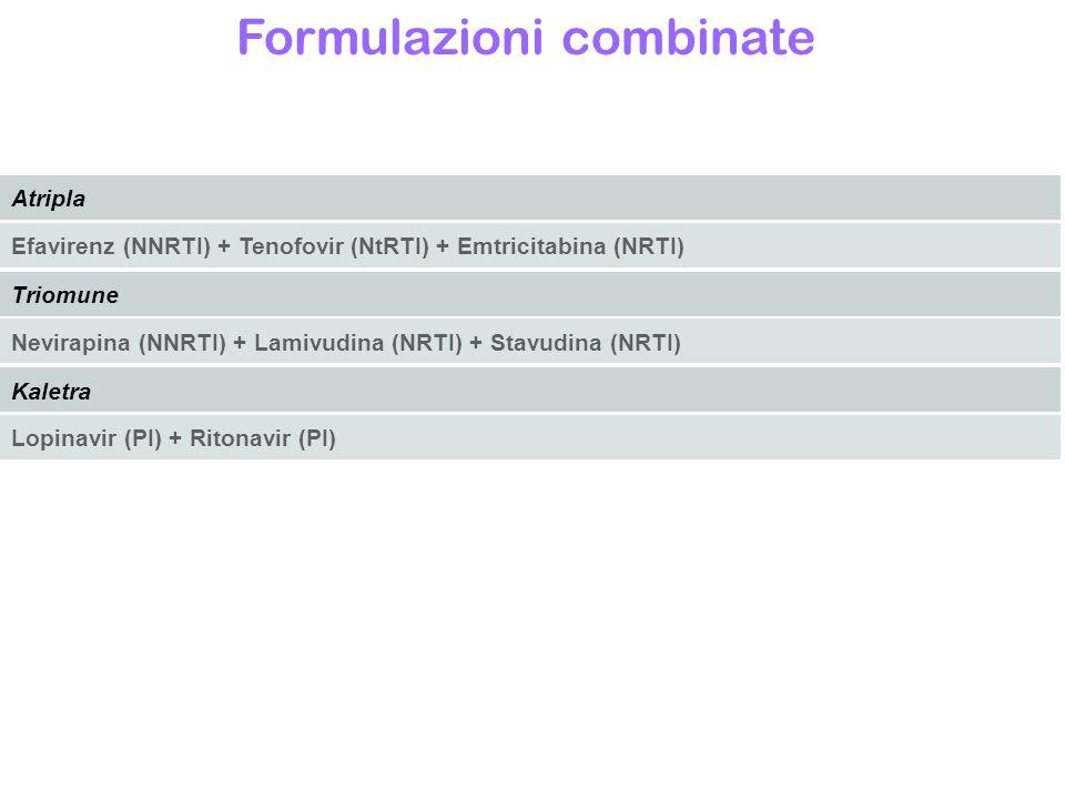 Formulazioni combinate Atripla Efavirenz (NNRTI) + Tenofovir (NtRTI) + Emtricitabina (NRTI) Triomune Nevirapina (NNRTI) + Lamivudina (NRTI) + Stavudin