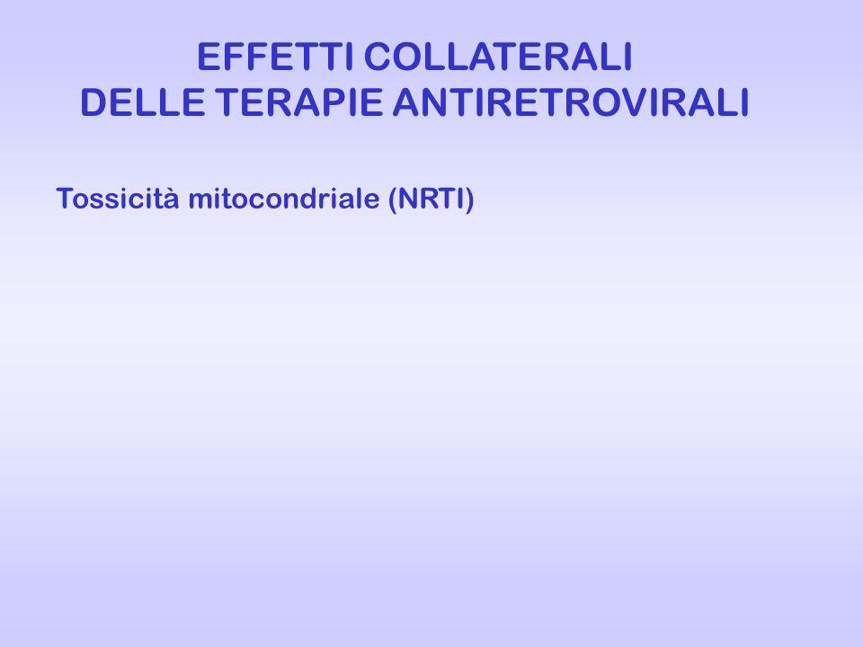 EFFETTI COLLATERALI DELLE TERAPIE ANTIRETROVIRALI Tossicità mitocondriale (NRTI)