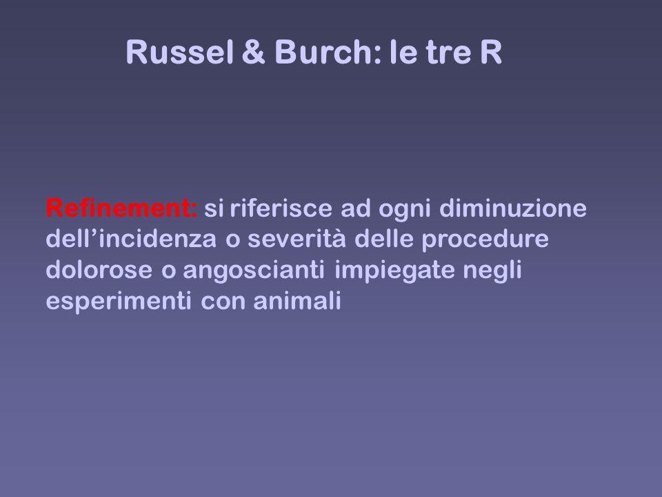 Russel & Burch: le tre R Refinement: si riferisce ad ogni diminuzione dellincidenza o severità delle procedure dolorose o angoscianti impiegate negli