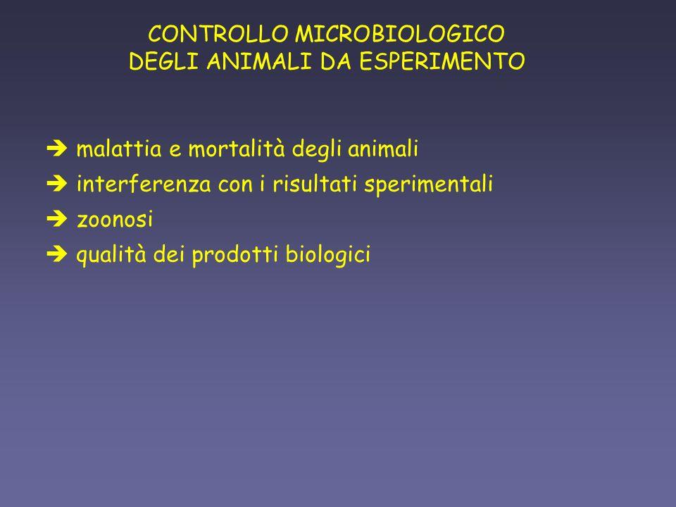 CONTROLLO MICROBIOLOGICO DEGLI ANIMALI DA ESPERIMENTO è malattia e mortalità degli animali è interferenza con i risultati sperimentali è zoonosi è qua