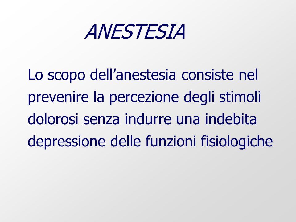 Lo scopo dellanestesia consiste nel prevenire la percezione degli stimoli dolorosi senza indurre una indebita depressione delle funzioni fisiologiche ANESTESIA