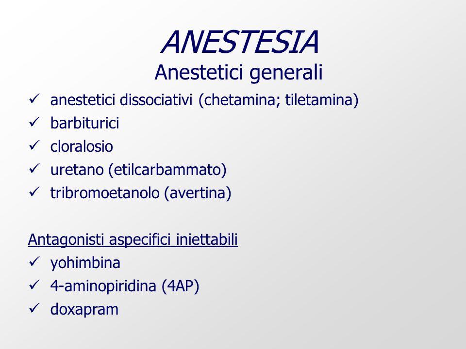 ANESTESIA Anestetici generali anestetici dissociativi (chetamina; tiletamina) barbiturici cloralosio uretano (etilcarbammato) tribromoetanolo (avertina) Antagonisti aspecifici iniettabili yohimbina 4-aminopiridina (4AP) doxapram