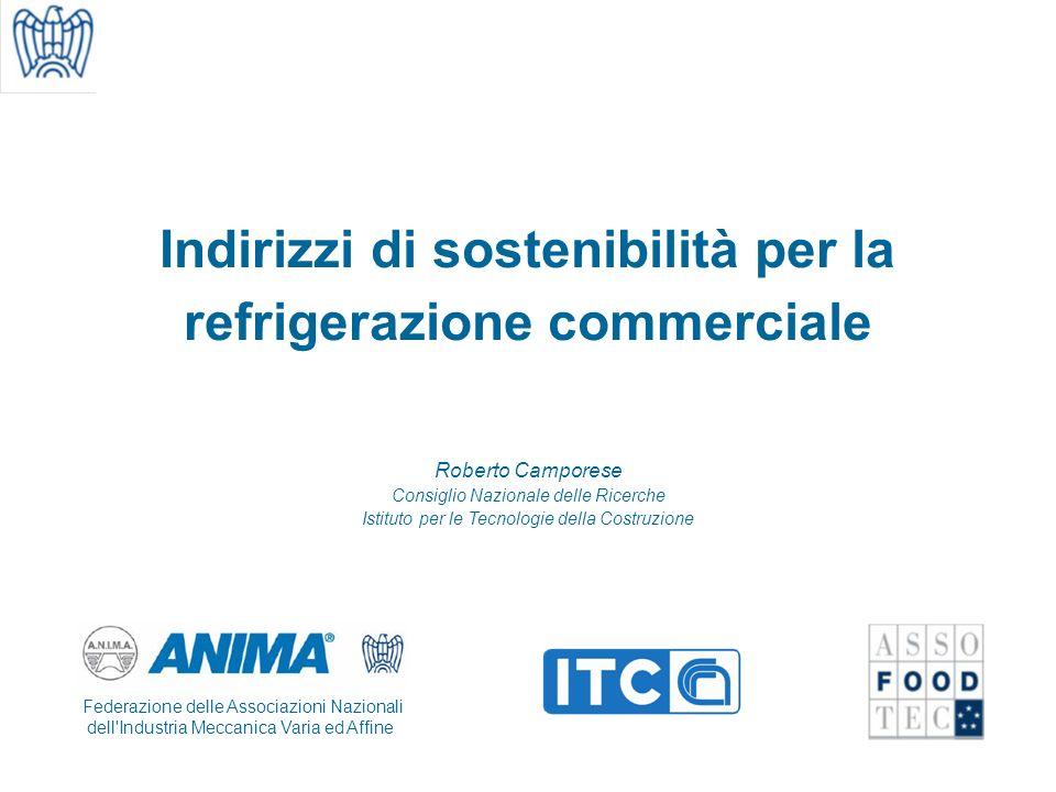 Indirizzi di sostenibilità per la refrigerazione commerciale Roberto Camporese Consiglio Nazionale delle Ricerche Istituto per le Tecnologie della Costruzione Federazione delle Associazioni Nazionali dell Industria Meccanica Varia ed Affine