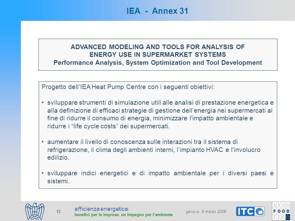 efficienza energetica: benefici per le imprese, un impegno per lambiente genova, 5 marzo 2009 13 IEA - Annex 31 ADVANCED MODELING AND TOOLS FOR ANALYSIS OF ENERGY USE IN SUPERMARKET SYSTEMS Performance Analysis, System Optimization and Tool Development Progetto dellIEA Heat Pump Centre con i seguenti obiettivi: sviluppare strumenti di simulazione utili alle analisi di prestazione energetica e alla definizione di efficaci strategie di gestione dellenergia nei supermercati al fine di ridurre il consumo di energia, minimizzare l impatto ambientale e ridurre i life cycle costs dei supermercati.