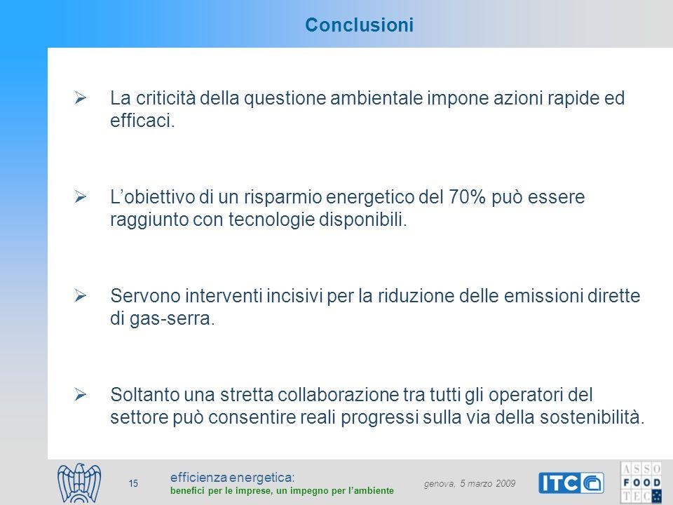 efficienza energetica: benefici per le imprese, un impegno per lambiente genova, 5 marzo 2009 15 Conclusioni La criticità della questione ambientale impone azioni rapide ed efficaci.