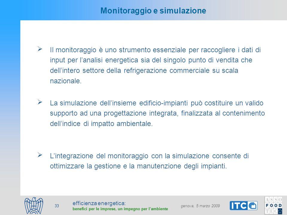 efficienza energetica: benefici per le imprese, un impegno per lambiente genova, 5 marzo 2009 33 Monitoraggio e simulazione Il monitoraggio è uno stru