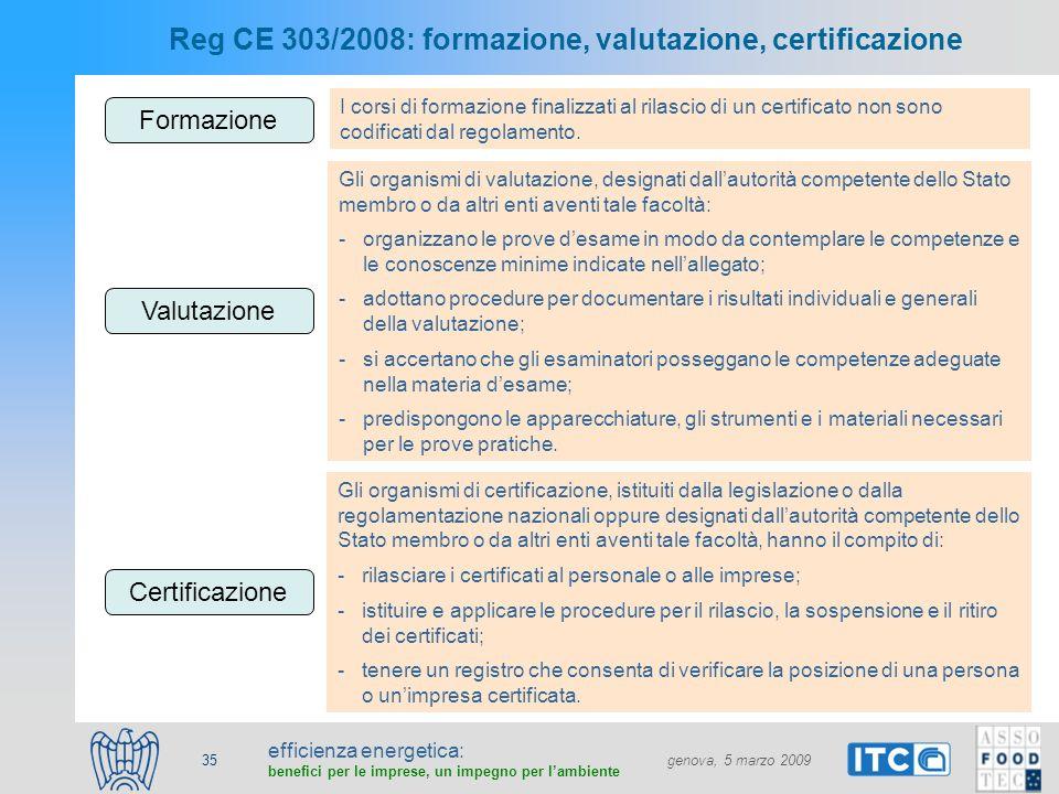 efficienza energetica: benefici per le imprese, un impegno per lambiente genova, 5 marzo 2009 35 Reg CE 303/2008: formazione, valutazione, certificazi