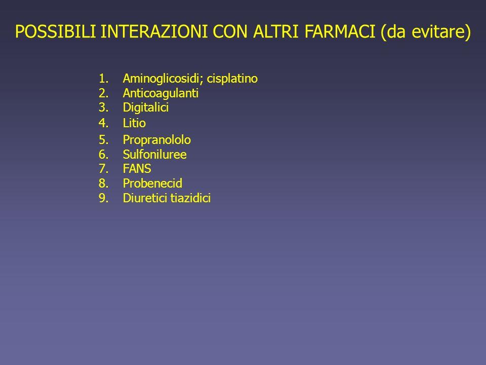 POSSIBILI INTERAZIONI CON ALTRI FARMACI (da evitare) 1.Aminoglicosidi; cisplatino 2.Anticoagulanti 3.Digitalici 4.Litio 5.Propranololo 6.Sulfoniluree 7.FANS 8.Probenecid 9.Diuretici tiazidici
