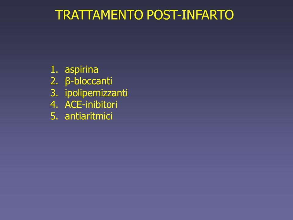 TRATTAMENTO POST-INFARTO 1.aspirina 2.β-bloccanti 3.ipolipemizzanti 4.ACE-inibitori 5.antiaritmici