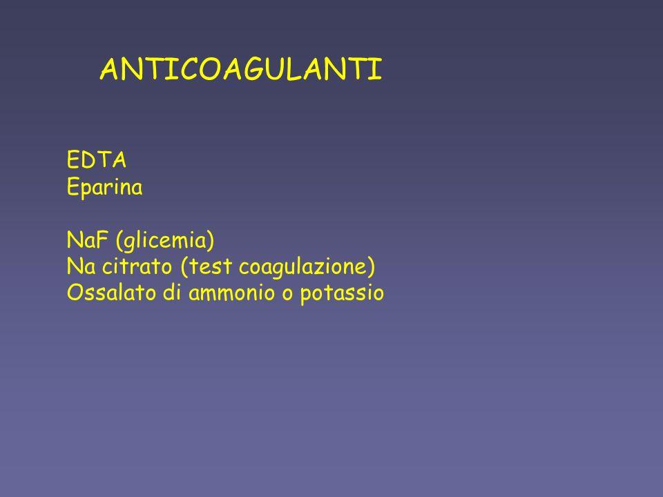 ANTICOAGULANTI EDTA Eparina NaF (glicemia) Na citrato (test coagulazione) Ossalato di ammonio o potassio