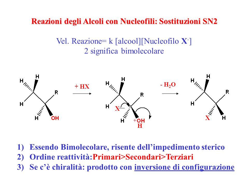 H+H+ T -H 2 O -H + Eliminazione E Alchene (più sostituito) -H 2 O +X - Sostituzione Nucleofila SN 1 Alogenuro racemo Reattività: III°>II°>I° Reazioni degli Alcoli con Acidi: Eliminazioni e Sostituzioni SN1 (via carbocatione) Vel.=k[alcool] 1 monomolecolare H R R RR