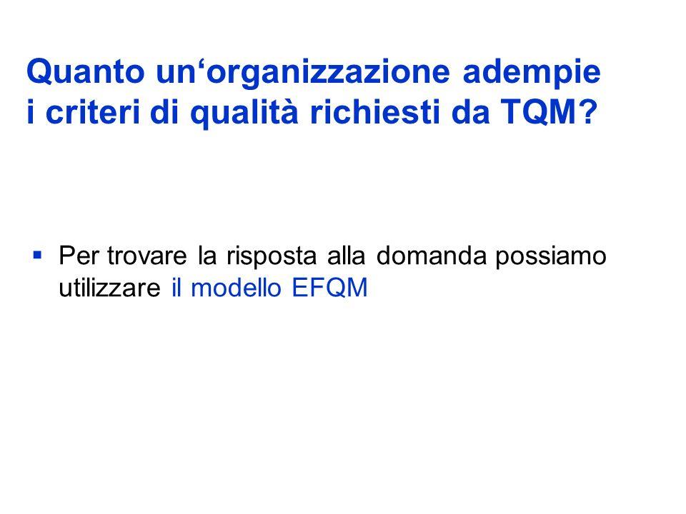 Quanto unorganizzazione adempie i criteri di qualità richiesti da TQM.