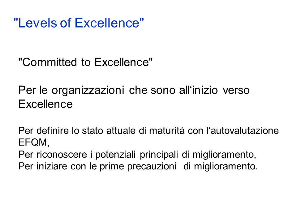 Committed to Excellence Per le organizzazioni che sono allinizio verso Excellence Per definire lo stato attuale di maturità con lautovalutazione EFQM, Per riconoscere i potenziali principali di miglioramento, Per iniziare con le prime precauzioni di miglioramento.