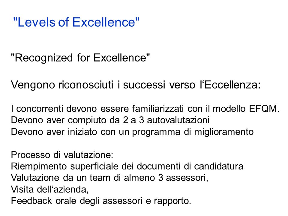 Recognized for Excellence Vengono riconosciuti i successi verso lEccellenza: I concorrenti devono essere familiarizzati con il modello EFQM.