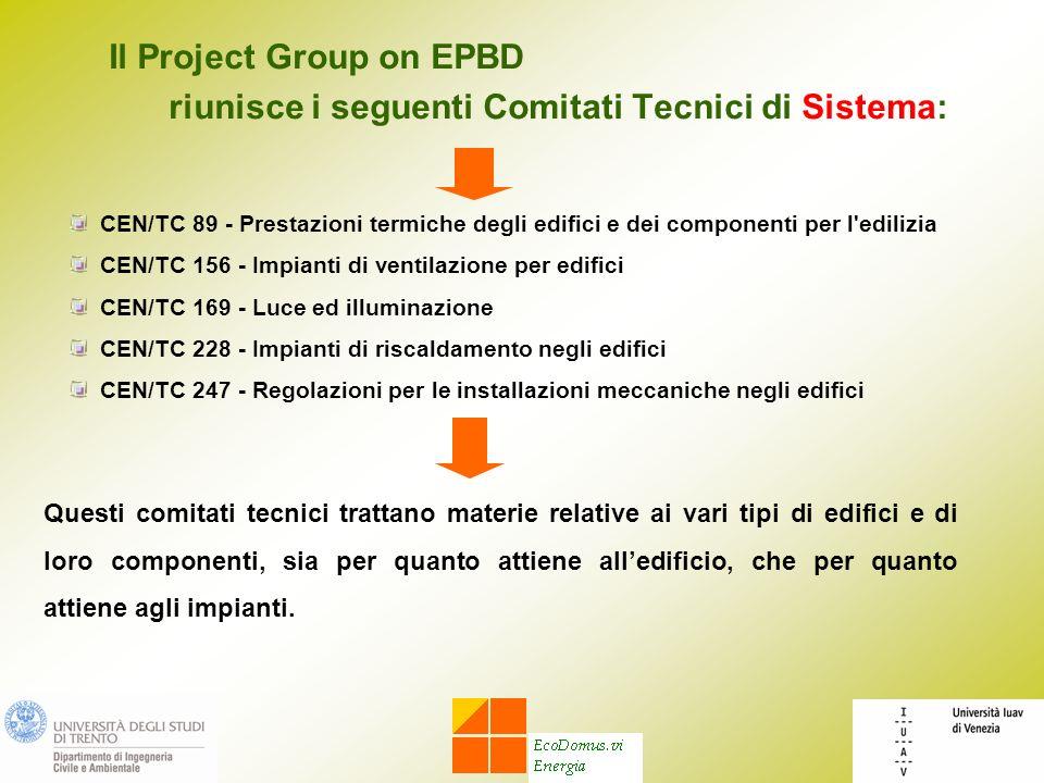 Il Project Group on EPBD riunisce i seguenti Comitati Tecnici di Sistema: Questi comitati tecnici trattano materie relative ai vari tipi di edifici e di loro componenti, sia per quanto attiene alledificio, che per quanto attiene agli impianti.