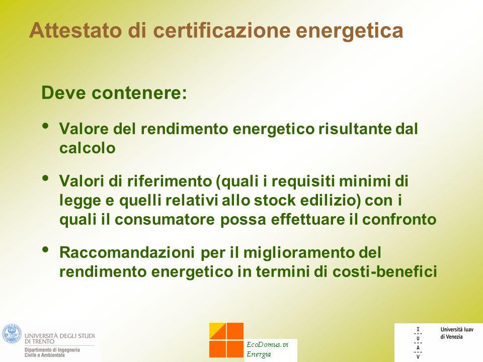 Attestato di certificazione energetica Deve contenere: Valore del rendimento energetico risultante dal calcolo Valori di riferimento (quali i requisit
