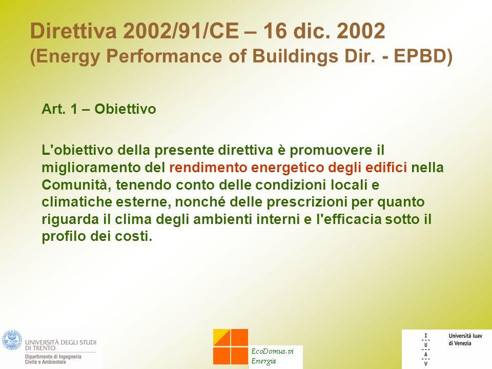 Direttiva 2002/91/CE – 16 dic. 2002 (Energy Performance of Buildings Dir. - EPBD) Art. 1 – Obiettivo L'obiettivo della presente direttiva è promuovere