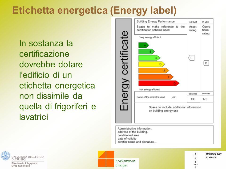 Etichetta energetica (Energy label) In sostanza la certificazione dovrebbe dotare ledificio di un etichetta energetica non dissimile da quella di frigoriferi e lavatrici