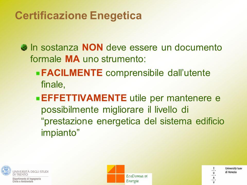 Certificazione Enegetica In sostanza NON deve essere un documento formale MA uno strumento: FACILMENTE comprensibile dallutente finale, EFFETTIVAMENTE utile per mantenere e possibilmente migliorare il livello di prestazione energetica del sistema edificio impianto