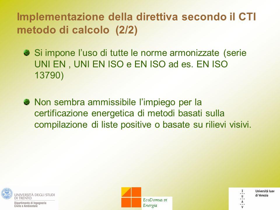 Implementazione della direttiva secondo il CTI metodo di calcolo (2/2) Si impone luso di tutte le norme armonizzate (serie UNI EN, UNI EN ISO e EN ISO ad es.