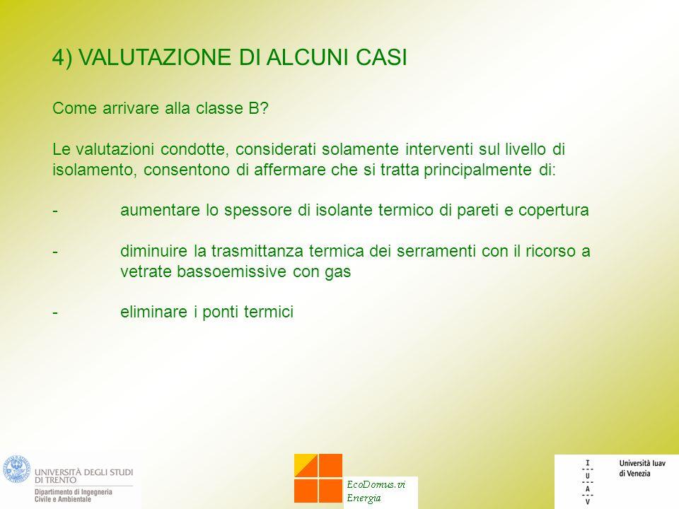 4) VALUTAZIONE DI ALCUNI CASI Come arrivare alla classe B? Le valutazioni condotte, considerati solamente interventi sul livello di isolamento, consen