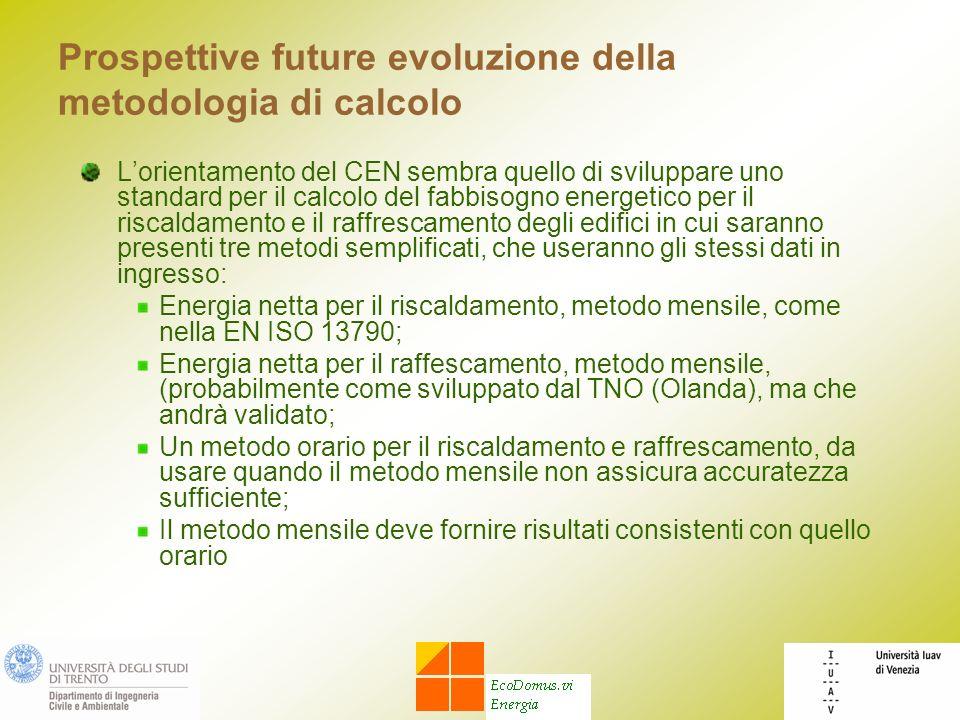 Prospettive future evoluzione della metodologia di calcolo Lorientamento del CEN sembra quello di sviluppare uno standard per il calcolo del fabbisogn