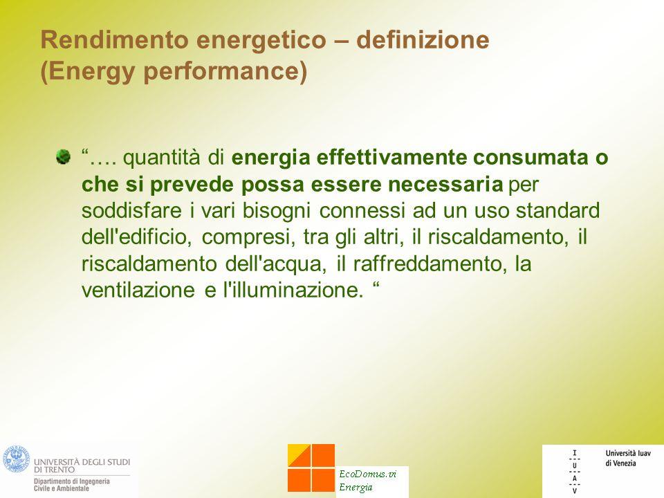 Rendimento energetico – definizione (Energy performance) …. quantità di energia effettivamente consumata o che si prevede possa essere necessaria per