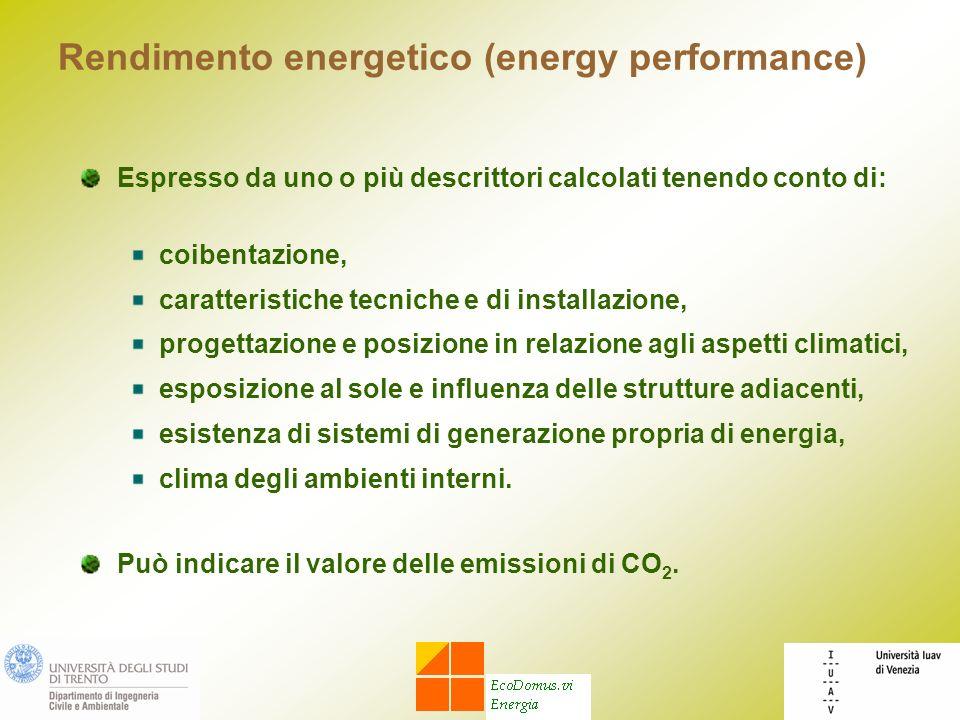 Rendimento energetico (energy performance) Espresso da uno o più descrittori calcolati tenendo conto di: coibentazione, caratteristiche tecniche e di
