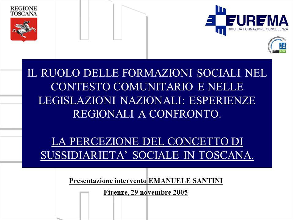 IL RUOLO DELLE FORMAZIONI SOCIALI NEL CONTESTO COMUNITARIO E NELLE LEGISLAZIONI NAZIONALI: ESPERIENZE REGIONALI A CONFRONTO.