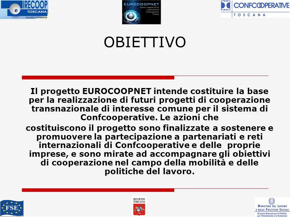 OBIETTIVO Il progetto EUROCOOPNET intende costituire la base per la realizzazione di futuri progetti di cooperazione transnazionale di interesse comune per il sistema di Confcooperative.