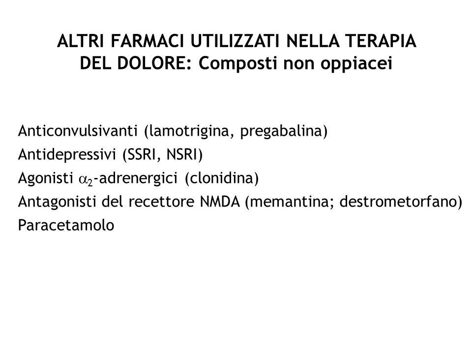ALTRI FARMACI UTILIZZATI NELLA TERAPIA DEL DOLORE: Composti non oppiacei Anticonvulsivanti (lamotrigina, pregabalina) Antidepressivi (SSRI, NSRI) Agon