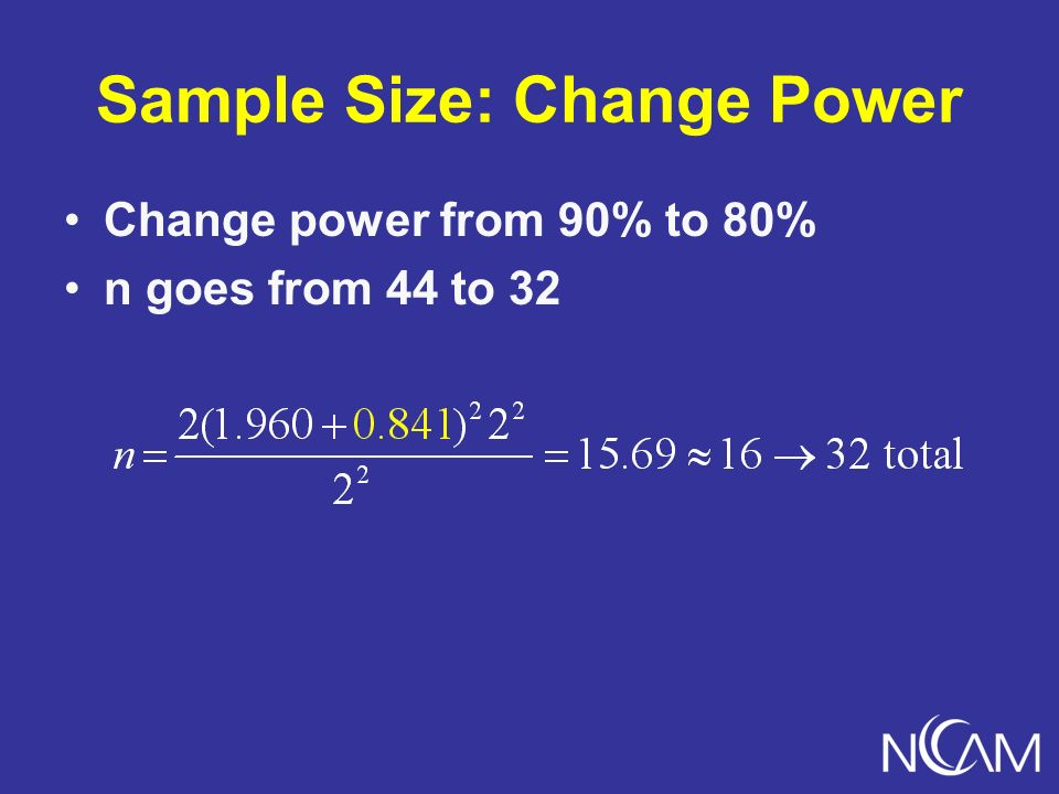 Sample Size: Change Power Change power from 90% to 80% n goes from 44 to 32