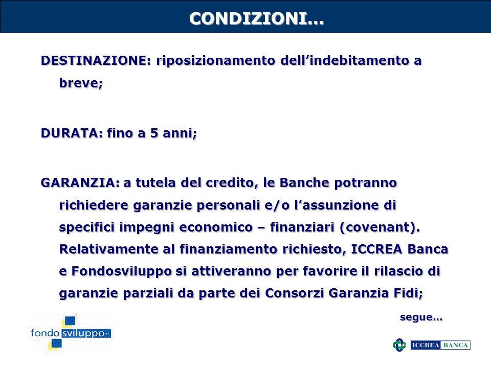 16CONDIZIONI… DESTINAZIONE: riposizionamento dellindebitamento a breve; DURATA: fino a 5 anni; GARANZIA: a tutela del credito, le Banche potranno rich