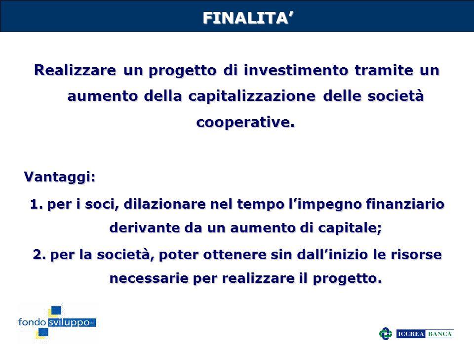 21FINALITA Realizzare un progetto di investimento tramite un aumento della capitalizzazione delle società cooperative. Vantaggi: 1.per i soci, dilazio