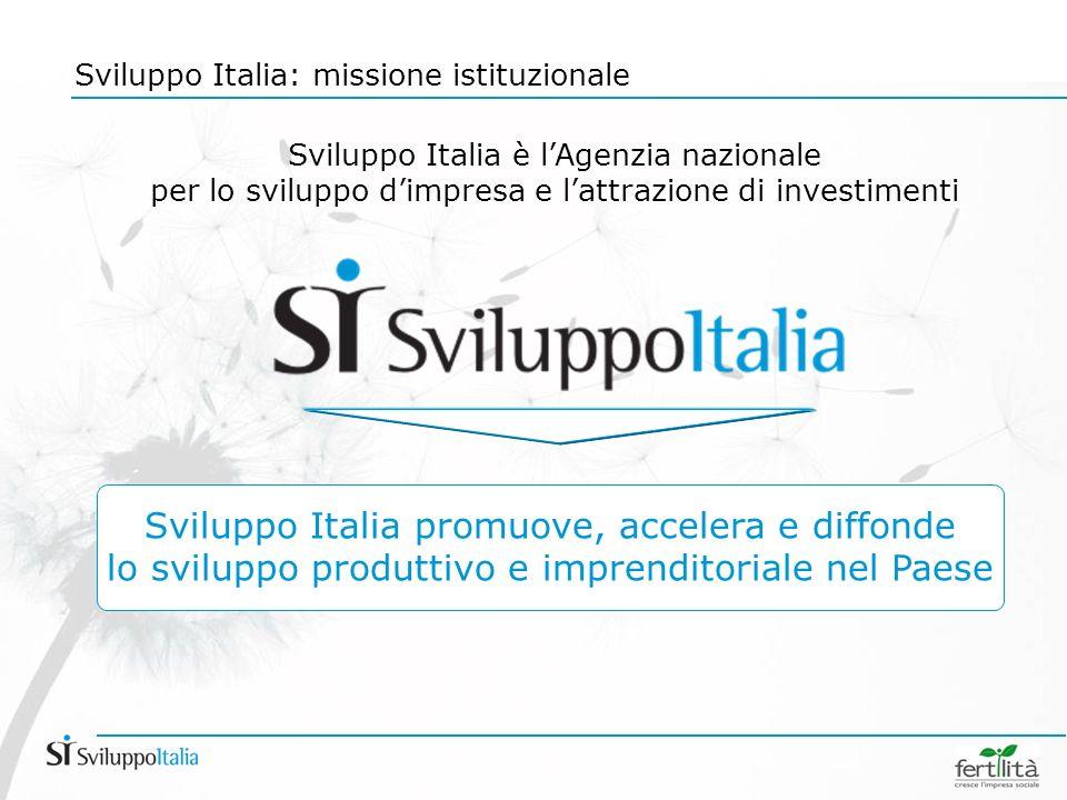 Sviluppo Italia: missione istituzionale Sviluppo Italia è lAgenzia nazionale per lo sviluppo dimpresa e lattrazione di investimenti Sviluppo Italia promuove, accelera e diffonde lo sviluppo produttivo e imprenditoriale nel Paese