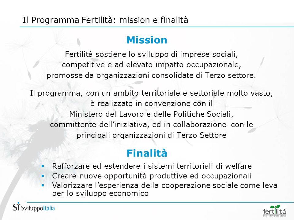 Fertilità sostiene lo sviluppo di imprese sociali, competitive e ad elevato impatto occupazionale, promosse da organizzazioni consolidate di Terzo settore.