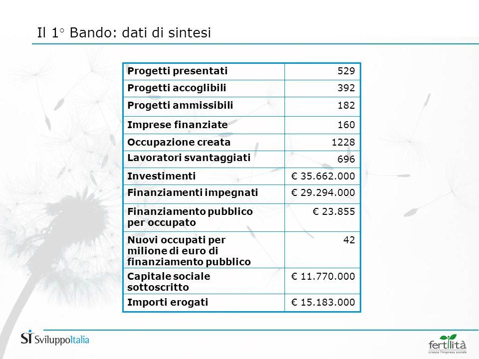 Il 1° Bando: dati di sintesi 15.183.000Importi erogati 11.770.000Capitale sociale sottoscritto 23.855Finanziamento pubblico per occupato 42Nuovi occupati per milione di euro di finanziamento pubblico 29.294.000Finanziamenti impegnati 35.662.000Investimenti 696 Lavoratori svantaggiati 1228Occupazione creata 160Imprese finanziate 182Progetti ammissibili 392Progetti accoglibili 529 Progetti presentati