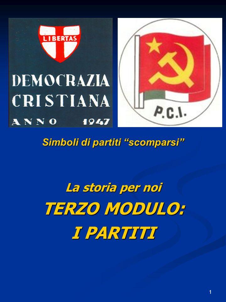 32 Sessanta anni in Italia (2) : coalizioni di partiti al governo 5) Dal 1979 al 1993 si succedono quattordici governi chiamati PENTAPARTITO (ma anche con solo quattro partiti) con Democrazia Cristiana, Socialisti, Socialdemocratici, Repubblicani e Liberali.
