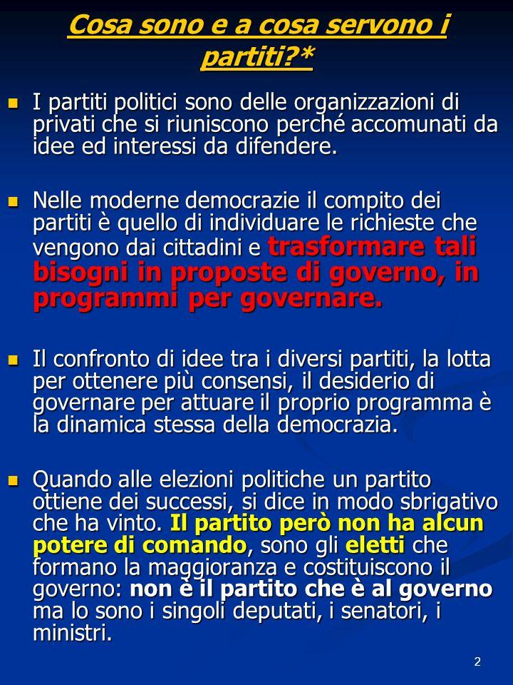 2 Cosa sono e a cosa servono i partiti?* I partiti politici sono delle organizzazioni di privati che si riuniscono perché accomunati da idee ed interessi da difendere.