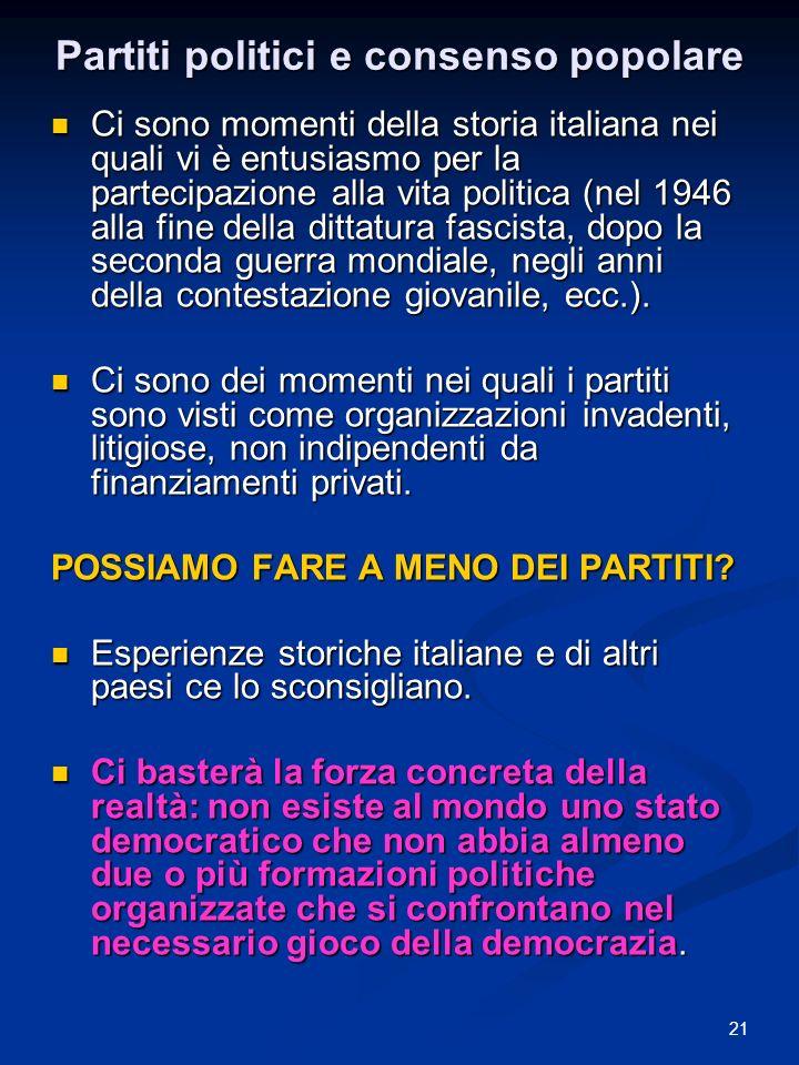 21 Partiti politici e consenso popolare Ci sono momenti della storia italiana nei quali vi è entusiasmo per la partecipazione alla vita politica (nel 1946 alla fine della dittatura fascista, dopo la seconda guerra mondiale, negli anni della contestazione giovanile, ecc.).